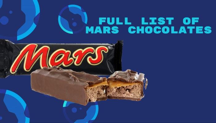 Full List of Mars Chocolates
