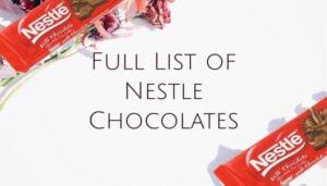 Full List of Nestle Chocolates
