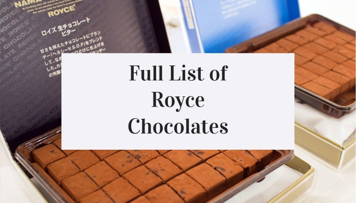 Full List of Royce Chocolates